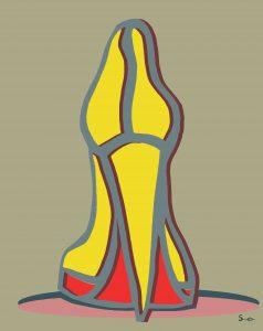 Hoge Hak Vrouw afbeelding Hak geel goud