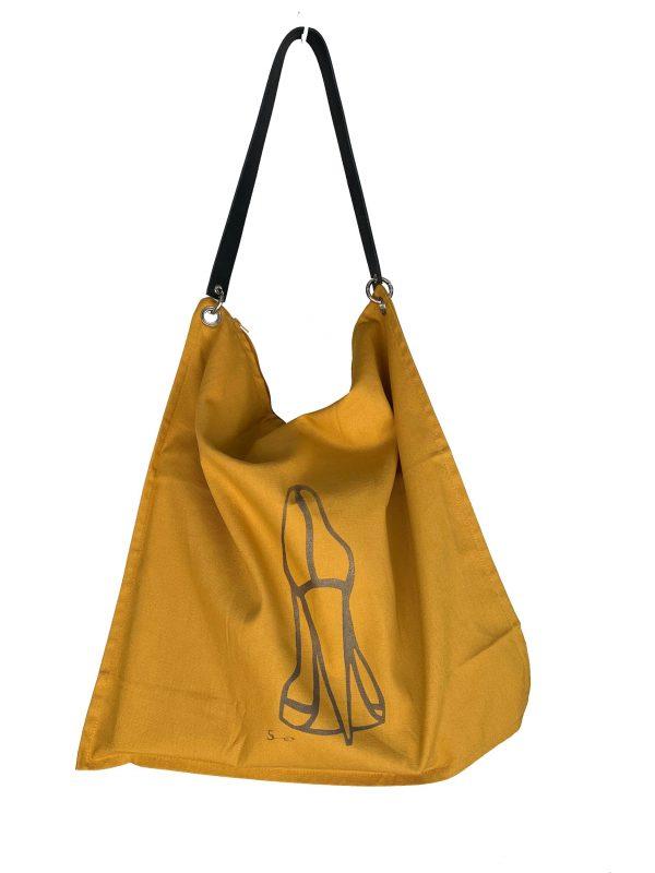 Katoenen tas, geel, oker geel.